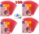Business Source Transparent Poly File Holders, Pack of 100 Bundled with AdvantageOP Letter Opener, (Red)