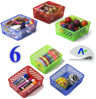 Officemate OIC Achieva Medium Supply Baskets, Bundle of 6, Comes in Blue, Green and Red (26203) Plus Bonus AdvantageOP Letter Opener