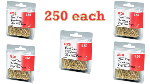 Value Pack of 250 ACCO Gold Tone Jumbo Paper Clips, Smooth Finish, Steel Wire, 20 Sheet Capacity, 5 Boxes, 50 Clips per Box (A7072532)