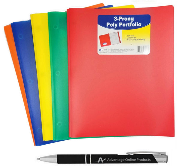 5-Pack C-Line Two-Pocket Heavyweight Poly Portfolio with Prongs, For Letter S...
