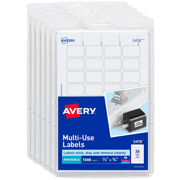 "Avery Self-Adhesive Removable Labels, 1/2"" x 3/4"", White, 6000 Labels (6-Pack 5418)"