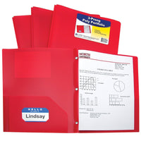 C-Line Two-Pocket Heavyweight Poly Portfolio with Prongs, For Letter Size Papers, Includes Business Card Slot, 1 Case of 25 Portfolios, Red (33964-25)