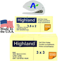 Highland Notes Value Bundle, Includes 12 of The 3 x 3 inch Size and 12 of The 1.5 x 2 inch Pads, Plus Bonus AdvantageOP Custom Letter Opener (6539 6549) (2)