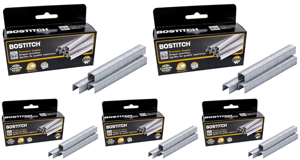 Bostitch B8 PowerCrown Staples, 0.375 Inch Leg, 45 Sheet Capacity, 5,000 Per Box (STCR21153/8) - 5 Pack