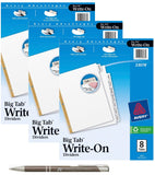 Avery Big Tab Write & Erase Dividers with Bonus AdvantageOP Custom Retractable Pen, 23078 (3 Pack of 8 Tabs)