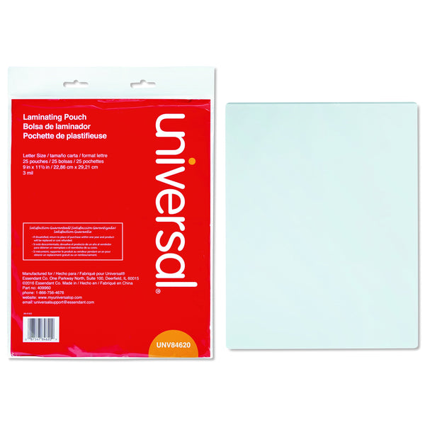 "Universal Clear Laminating Pouches, 3 Mil, 9"" x 11"" 1/2, 25/Pack (84620)"