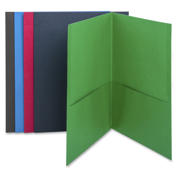 Business Source Double Pocket Portfolio - Assorted Colors - Box of 25 (78502)