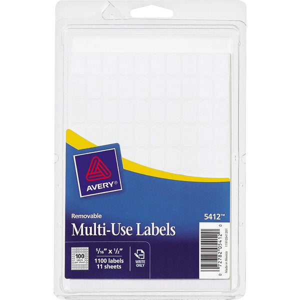Avery 05412 Removable Multi-Use Labels, 5/16-Inch x 1/2-Inch, White, 1000 Labels/Pack