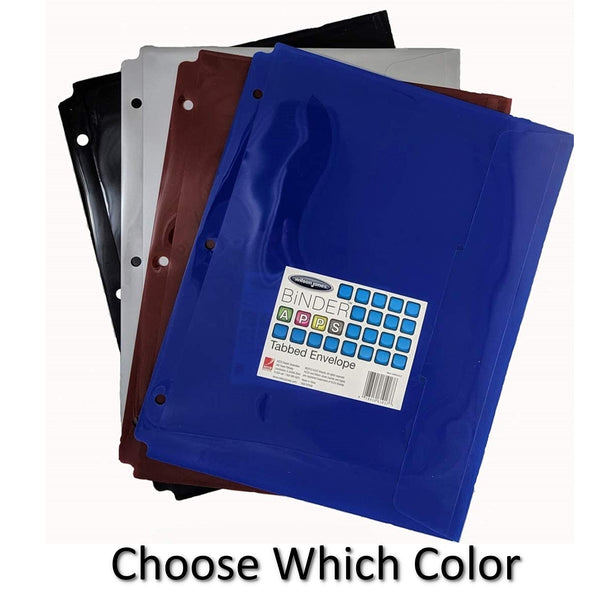 Poly Tabbed Envelope, Pre-Punched, Letter Size, Durable, Water Resistant (All 4 Colors (1 of ea))
