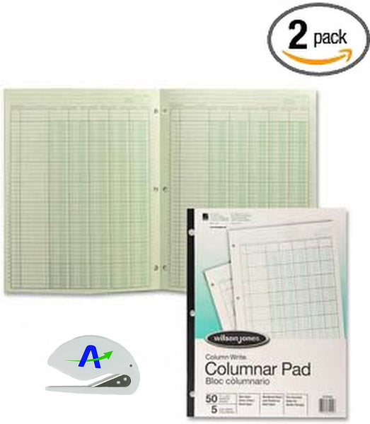 Wilson Jones ColumnWrite Columnar Pad, 11 x 8.5 inch Size, Ruled Both Sides Alike, 41 Lines per Page, 5 Columns, Green, 2 Pads, 50 Sheets per Pad (WG7205A) with Bonus AdvantageOP Custom Letter Opener