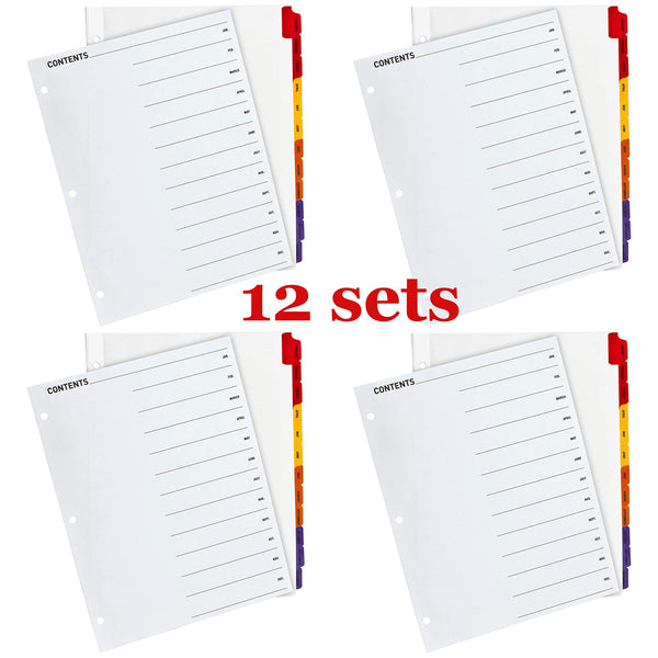 12 Sets Jan-Dec Monthly Table of Contents Index Dividers, 3-Hole Punched for Laser and Inkjet Printers