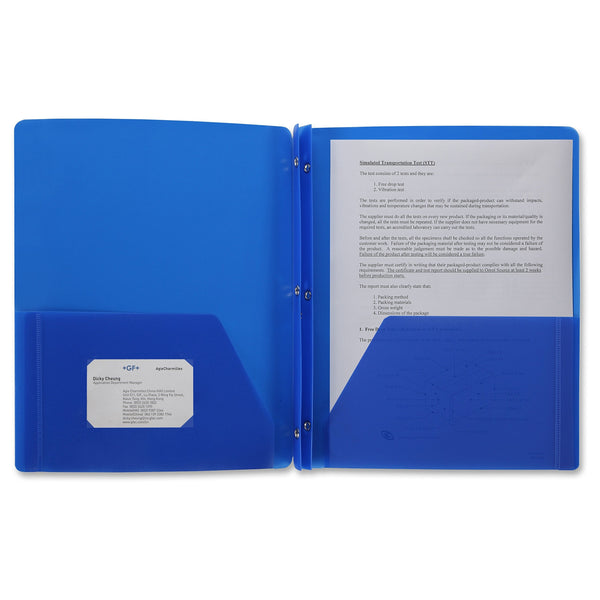 48 PackPoly Plastic Portfolio School Report Covers, 3 Hole Punched with Prongs, 8.5 x 11, Solid Colors, Durable, Spill Resistant/Water Resistant (Blue)