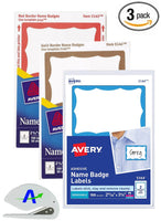 3 Pack Value Bundle Avery Adhesive Color Border Name Badges, 100 Labels Each of Blue, Gold and Red. 300 Total Labels/Badges. Includes AdvantageOP Custom Letter Opener