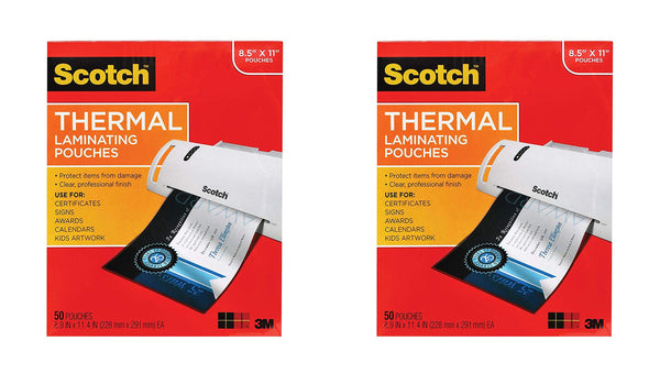 Scotch Thermal Laminating Pouches, 8.9 x 11.4-Inches, 3 mil Thick,2 Pack of 50 (TP3854-50),Clear