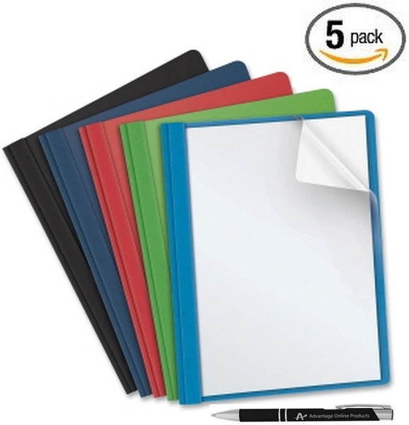Business Source Clear Front Report Covers with 3 Prongs, Letter Size, 1 of each Color Includes Black, Light Blue, Navy Blue, Red and Green. Also Includes AdvantageOP Custom Retractable Pen.