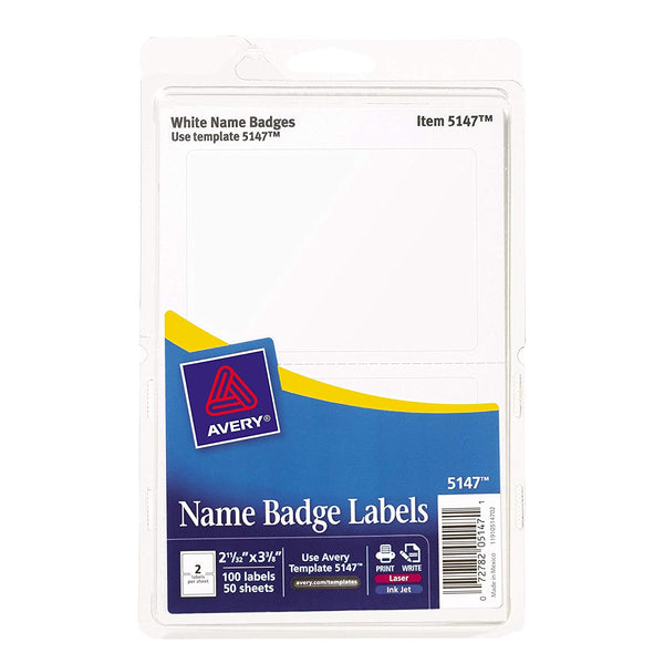 "Avery Name Badge Labels, Red Border, 2-11/32"" x 3-3/8"", 100 Badges (5143)"