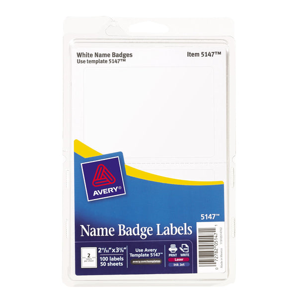 "Avery White Print or Write Name Badge Labels, 2-11/32"" x 3-3/8"", 100 Labels per Pack, Case Pack of 18 (5147)"