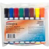 Integra 33311 Dry-Erase Marker, Large Barrel, Chisel Tip, 8 Color/ST, AST