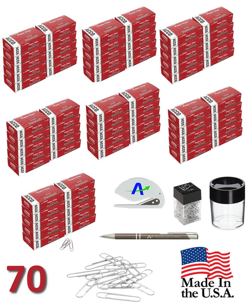 Acco Jumbo Paper Clips 72580, Silver, Large, 70 Boxes of 100, Plus Custom Pen and Letter Opener and Small and Large Magnetic Dispenser