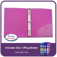 C-Line 3-Ring Poly Binder with Inner Pocket, Mini Size 5.5 x 8.5-Inch Size, 1-Inch Capacity, Color May Vary, 1 Binder (30710)