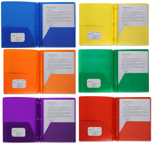 Poly Plastic Portfolio School Report Covers, 3 Hole Punched with Prongs, 8.5 x 11, Asst Colors Include Blue, Orange, Purple, Yellow, Green and Red are Durable, Spill Resistant/Water Resistant (24)