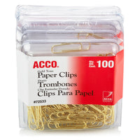 ACCO Gold Tone Clips, Smooth Finish, 2 Size, 100/Box, 2-Pack (400 Clips Total) (A7072554) (Pack of 2)