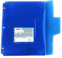Poly Tabbed Envelope, Pre-Punched, Letter Size, Durable, Water Resistant (Blue)