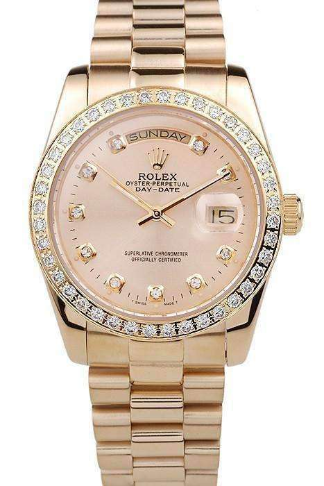 0e18da20d Swiss Rolex Day-Date 18k Yellow Gold Plated Stainless Steel Gold Dial