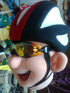 Cyclist Mascot Head Costume Adult size