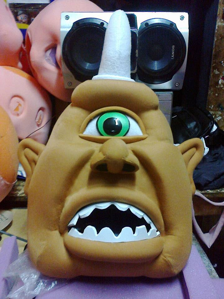 Cyclop Mascot Head Costume Adult size