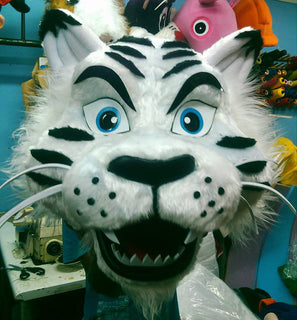 White Tiger Mascot Costume Head ONLY STD Adult size