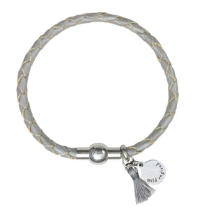 Silver Plaited Tassel Leather Bracelet