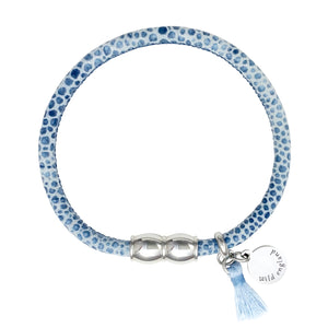 Sky Blue Tassel Leather Bracelet