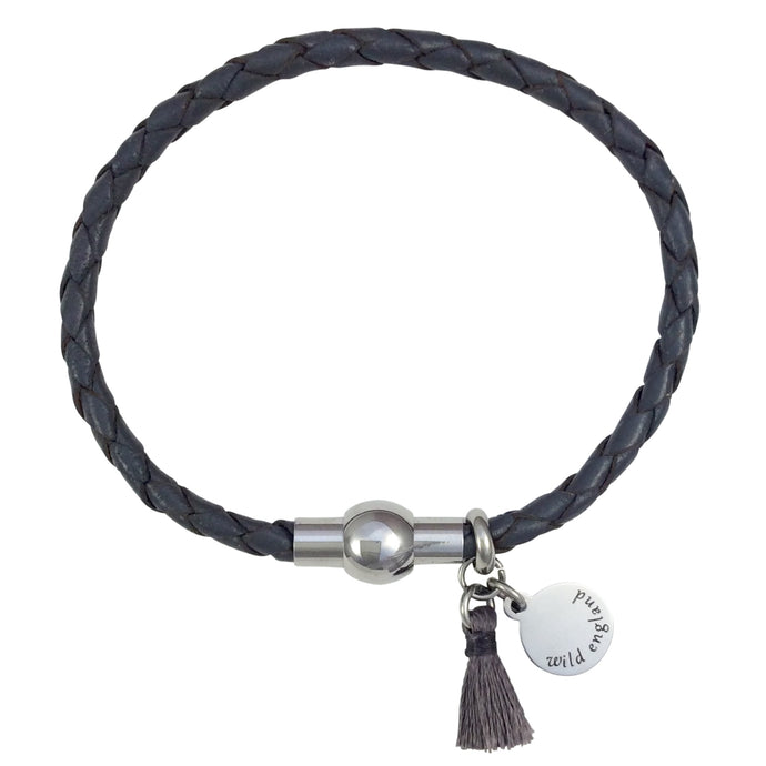 Grey Plaited Tassel Leather Bracelet
