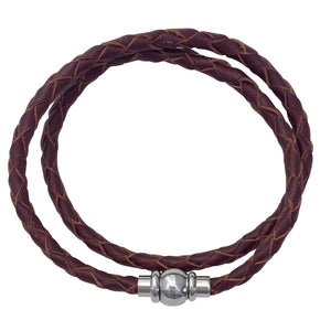 Burgundy Brown Plaited Leather Single Or Double Wrap Bracelet