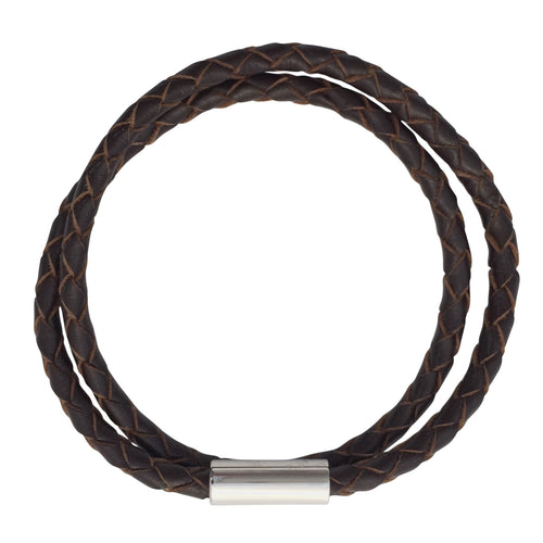 Dark Brown Plaited Leather Single Or Double Wrap Bracelet