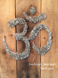 Namaste - Om (Aum) Symbol Pallet Art in Silver Glass