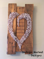 Genuine Amethyst & Wood Heart Pallet Art