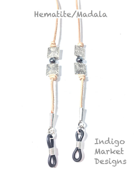 Leather & Gemstones Eyeglass Cord