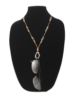Leather & Black Pearl Eyeglass Ring Necklace/Earring Set