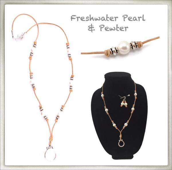 Leather & White Pearl Eyeglass Ring Necklace/Earring Set