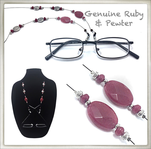 Ruby (Faceted) Eyeglass Chain