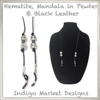 Leather, Hematite, Mandala in Pewter Eyeglass Cord