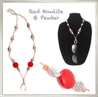 Leather & Red Howlite Eyeglass Ring Necklace