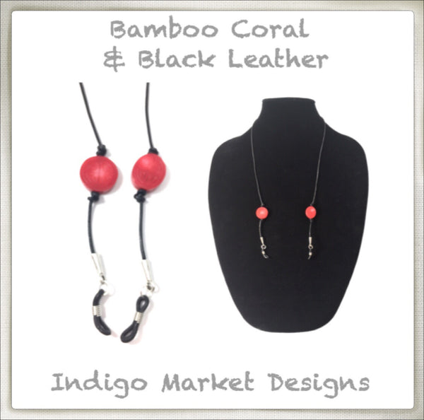 Leather & Bamboo Coral Eyeglass Cord