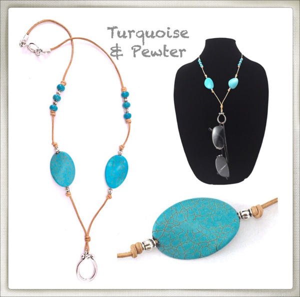 Leather & Natural Turquoise Eyeglass Ring Necklace