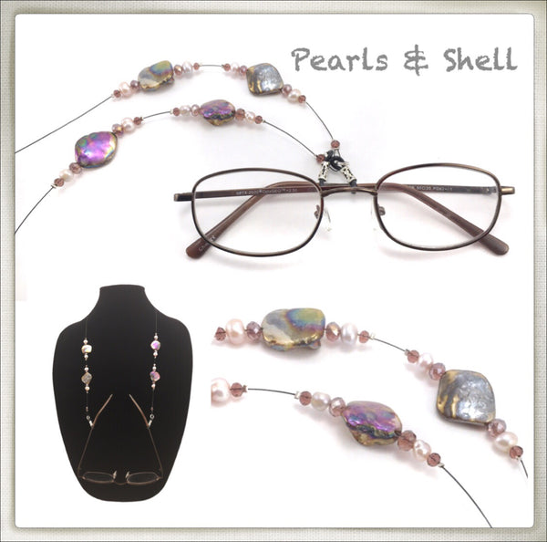 Pearl & Iridescent Shell Eyeglass Chain