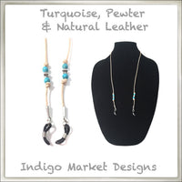 Leather & Turquoise Eyeglass Cord