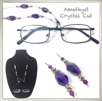 Amethyst Crystal Cut Eyeglass Chain