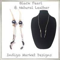 Leather & Black Pearl Eyeglass Cord